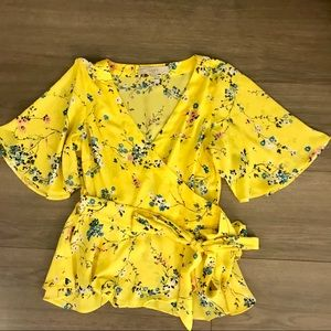 Loft Yellow Floral Wrap Shirt with Flutter Sleeve